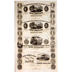 OH, Kirtland--The Kirtland Safety Society Bank $1-$1-$2-$3 Un-Cut Sheet
