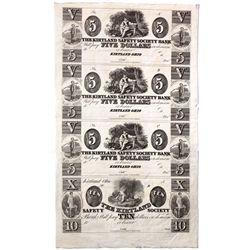 OH, Kirtland--The Kirtland Safety Society Bank $5-$5-$5-$10 Un-Cut Sheet