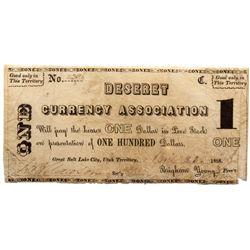 UT, Salt Lake City--Deseret Currency Association $1