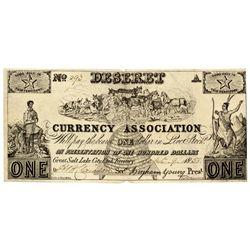 UT, Salt Lake City--Deseret Currency Association $1 Type 2
