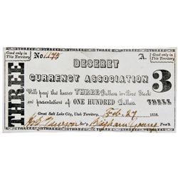 OH, Salt Lake City--Hofmann Counterfeit / Deseret Currency Association $3