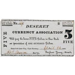 UT, Salt Lake City--Hofmann Counterfeit / Deseret Currency Association $5