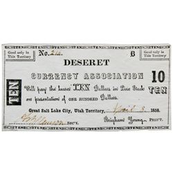 UT, Salt Lake City--Hofmann Counterfeit / Deseret Currency Association $10