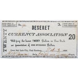 UT, Salt Lake City--Hofmann Counterfeit / Deseret Currency Association $20