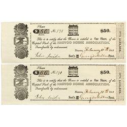 IL, Nauvoo--Nauvoo House Association Uncut Sheet $50/$50