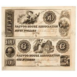 IL, Nauvoo--Nauvoo House Association Uncut Sheet $50/$100