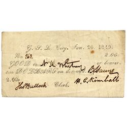 UT, Great Salt Lake City-- Printed Valley Note or 'White Note' $2