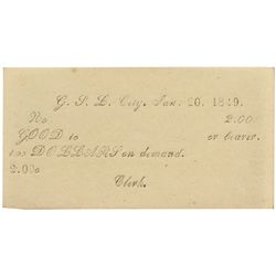 UT, Great Salt Lake City--Printed Valley Note or 'White Note' $2