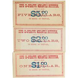 UT, Scipio-Millard County-Scipio Co-Operative Mercantile Institution $1, $2, and $3