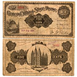 UT, Salt Lake City--General Tithing Store House 5c Meat/Overprint