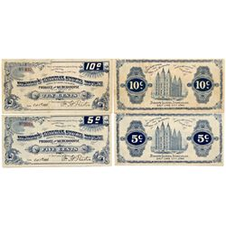 UT, Salt Lake City--Bishop's General Store House A Pair of Issued 5c & 10c Notes
