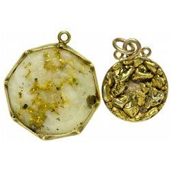 Gold Nugget and Gold Quartz Pendants