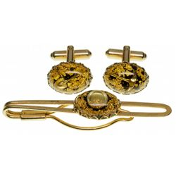 Gorgeous Hammered 23kt Gold Cufflinks and Tie Pin in Original Box