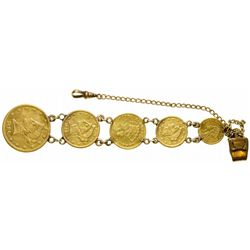 Indian Princess Head and Gold Liberty Head Gold Coin Watch Fob