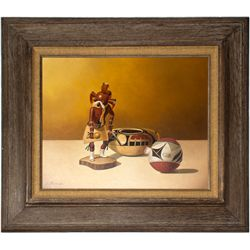 Kachina & Pottery Oil Painting on Canvas