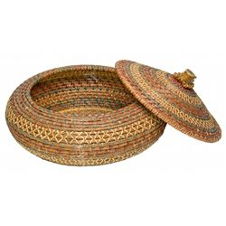 Lacquered Coiled Pine Needle Basket with Horn Knob