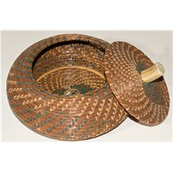 Lacquered Pine Needle Basket with Bone Lid