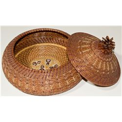 Large Lacquered Pine Needle Basket with Pinecone Lid