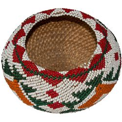 Washoe White/Red/ Green Beaded Basket