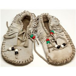 Child's Gray Buckskin Moccasins
