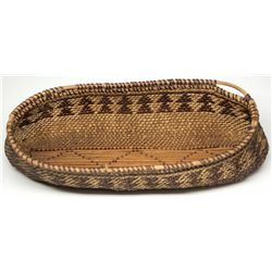 Diamond Pattern Oval Twined Basket