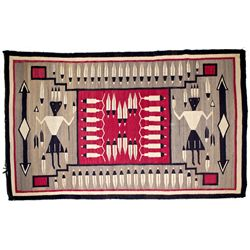 Navajo Storm Pattern Eagle Feather Yei Rug
