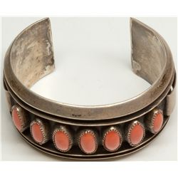 Silver and Coral Indian Bracelet