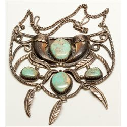 Silver and Turquoise Neck Plate