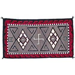 AZ, Teec Nos Pos-Apache County-Teec Nos Pos Style Navajo Rug with Whirling Log