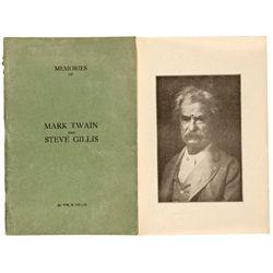CA, Sonora-Tuolumne County-Memories of Mark Twain & Steve Gillis Author Signed