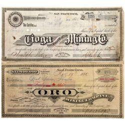 CA, Bodie-Mono County-Bodie Stocks Certificates