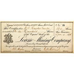 CA, Darwin-Inyo County-Loretto Mining Stock Certificate