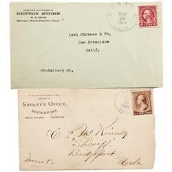 CA, Benton-Mono County-Benton Postal Covers Duo