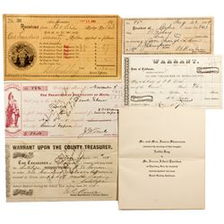 CA, Bodie-Mono County-Bodie Receipt Collection