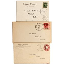 CA, Masonic-Mono County-Covers and Postcard with Masonic Ghost Town Postmarks