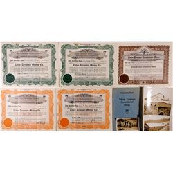 CA, Tahoe-Placer County-Tahoe Treasure Mining Company Stock Certificates, Prospectus and Mine Photos