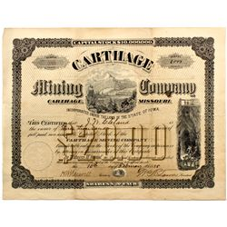 MO, Carthage--Carthage Mining Co. Stock Certificate