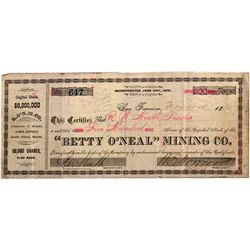 NV, Lander County--Betty O'Neal Mining Stock Certificate