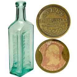 MA, Lowell-Middlesex County-Ayers Encased Postage with Sarsaparilla Bottle