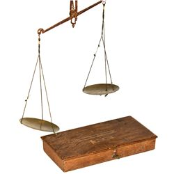 """Miner's Scale in Wood Box-""""Cheater Model"""""""