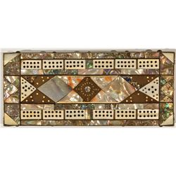 Abalone and Ivory Cribbage Board