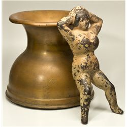 Naughty Nellie Boot Jack and Weighted Brass Spittoon