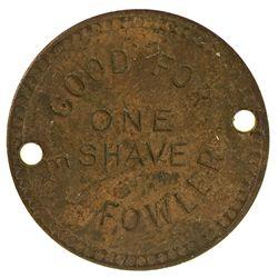 CA, Hornbrook-Siskiyou County-E.J Fowler Free Shave Token