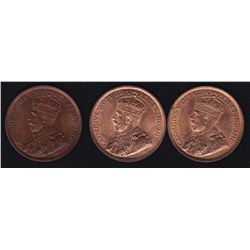 Lot of Three Large One Cents 1915, 1916, 1917