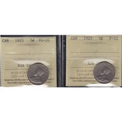Lot of 2 Graded 1925 Five Cent