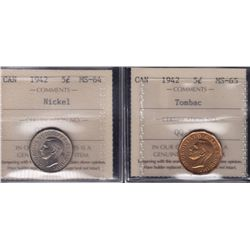 Lot of Two 1942 ICCS Graded Five Cent