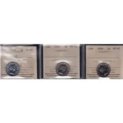 Lot of Three ICCS Graded Five Cent