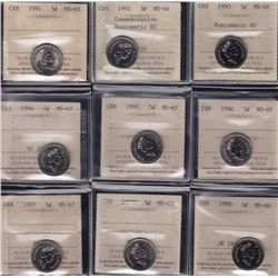 Lot of 18 ICCS Graded Five Cent