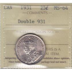 1931 Twenty Five Cent