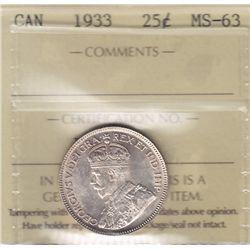 1933 Twenty Five Cent